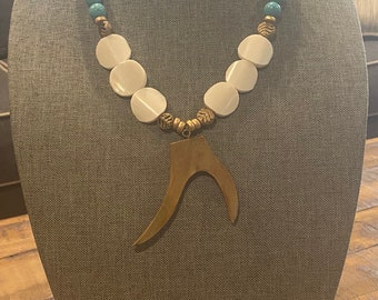 Turquoise Bead Jewelry / Statement Necklace / Antler Tusk Pendant / Flat Disk African Bone Beads / Brass Bead / Gold Bead Jewelry