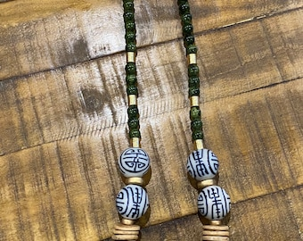 Blue Chinoiserie Ceramic Glass Bead / Olive Green Glass Bead / Coconut Wood Disk Bead / Boho Festival / Long Statement Necklace / Gold Bead