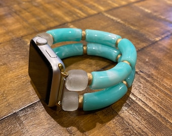 Apple Watch Band Bead Bracelet / Turquoise Tortoise Resin Acrylic Bamboo / Recycled Glass Bead / 42 44mm size Connector / Curved Tube Bead