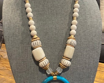 Chunky Wood Bead / Long Statement Necklace / Turquoise Bone Crescent Tusk Pendant / Coconut Wood Bead / African Bone Bead / Lilly Pulitzer