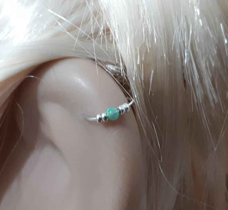 Silber Knorpel Ohrring kleine Opal Knorpel Ohrring Silber
