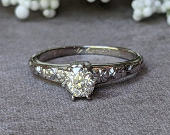 Art Deco Old Euro Cut Diamond Floral 18k White Gold Engagement Ring, Vintage Diamond Forget Me Not Blossom Solitaire Ring