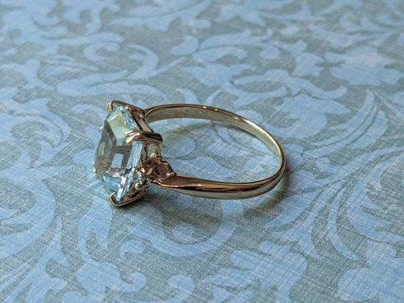 Vintage Aquamarine and Diamond Accent 14k Yellow … - image 2