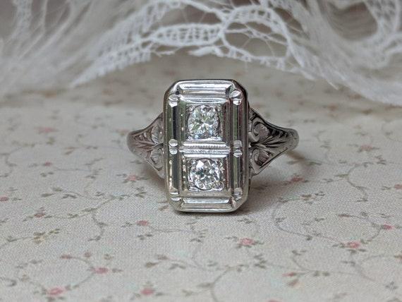 Art Deco 18k Diamond Ring, Art Deco 0.20tcw Diamon