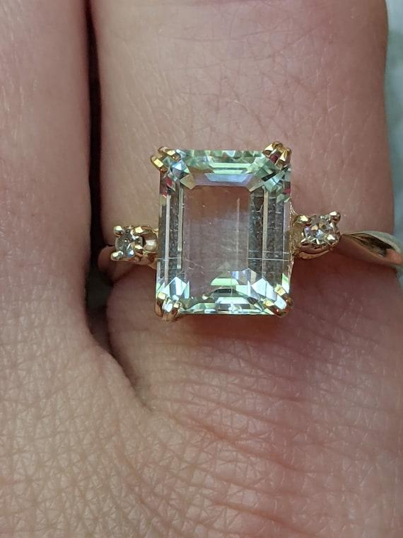 Vintage Aquamarine and Diamond Accent 14k Yellow … - image 6