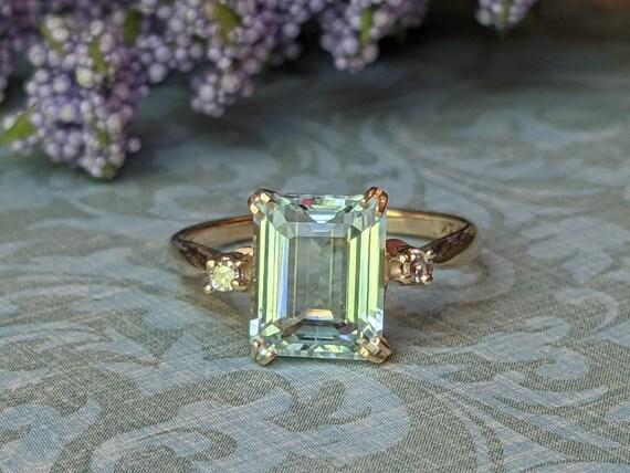 Vintage Aquamarine and Diamond Accent 14k Yellow … - image 1