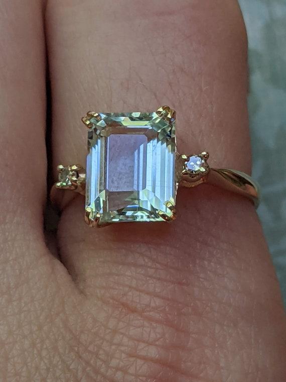 Vintage Aquamarine and Diamond Accent 14k Yellow … - image 3