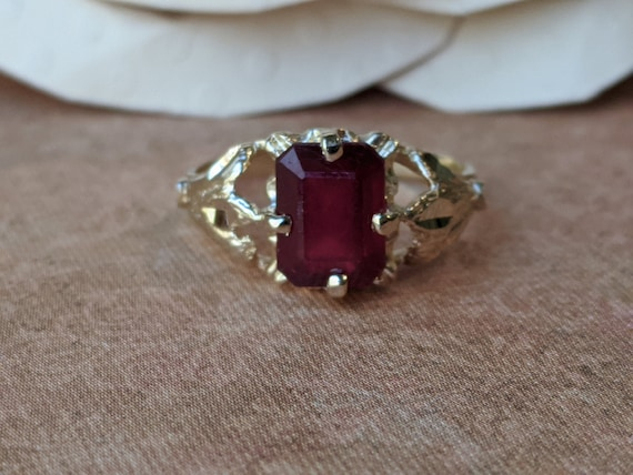 Vintage 14k Gold and Natural Ruby Ring, Vintage Ru