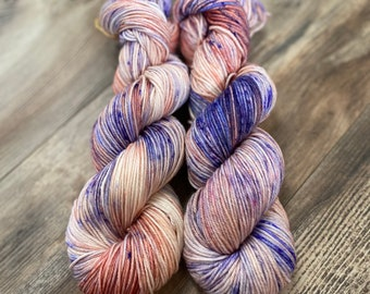 Lavender Coral Hand Dyed DK Weight Yarn
