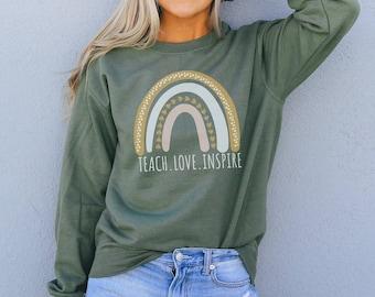 Love Teach Inspire Bleached Crewneck Sweatshirt Teacher Shirt