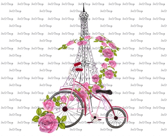 Eiffel Tower, Pink Bicycle & Roses, Sublimation Design, Instant Download, Printable Art, Romance, Travel