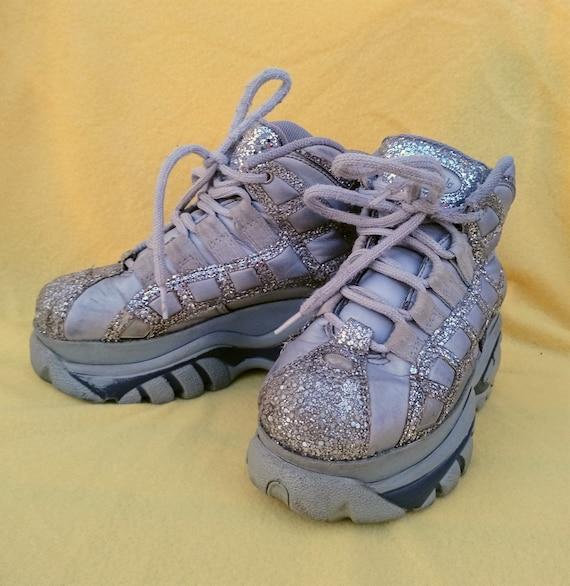 Silver Glitter Vintage Buffalo Platform Shoes EU37