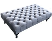 Large Bespoke Ottoman Footstool Coffee Table Chesterfield style deep buttoned