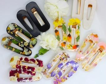 Pressed Flower Hair Clips, Hair Barrettes, Resin Hair pins, Daisy Hair Clips, Handmade Hair clips, Resin Hair Accessories, Flower Clip