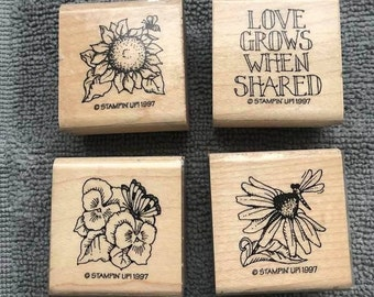 Flower Spring Summer Mother/'s Day Floral Butterfly With Flowers Wood Mounted Rubber Stamp Flowers