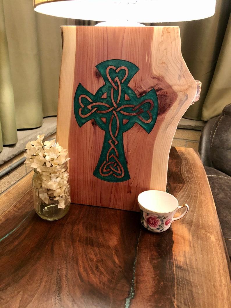 Celtic Cross with Resin on Reclaimed Red Cedar
