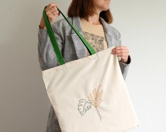 Embroidered tote bag tropical leaves, eco friendly cotton shopping bag with hand embroidery