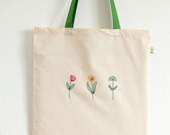 Embroidered tote bag wildflowers, floral eco friendly cotton shopper
