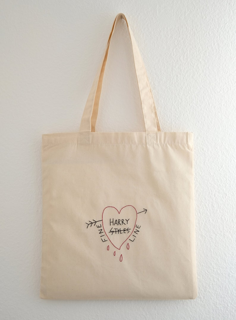 Harry Styles embroidered tote bag Fine Line canvas tote