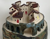 Mediterranean Walled Village. Hand crafted PennyPottery original. Can be internally lit. Unique One Off Handmade Ceramic Artwork by Penny.