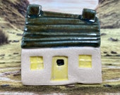 Bothy (Moss Horizontal Roof) PennyPottery Original 1220C Fired Ceramic Miniature. Mini House Collectable. Various Colours. Handmade by Penny