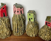 """Miniature Ceramic """"Cliff Top Houses"""" - Various Wall Glaze Colours - Unique & Handmade by Penny"""