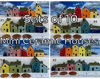 Sets of 10 Miniature Ceramic Houses + 1 Shed / Kennel. Stunning Rainbow Collections. Sweet Little Pottery Homes. Bespoke & Handmade by Penny