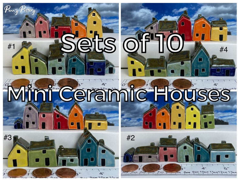 Sets of 10 Miniature Ceramic Houses  1 Shed / Kennel. image 0