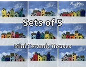 Sets of 5 Miniature Ceramic Houses & 1 Shed / Kennel. Stunning Collections of Sweet Little Pottery Homes. Bespoke and Handmade by Penny