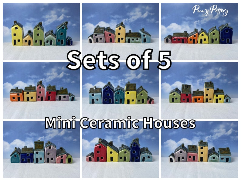 Sets of 5 Miniature Ceramic Houses & 1 Shed / Kennel. Stunning image 0