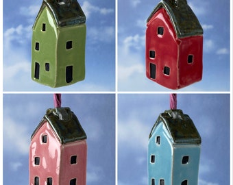 Light Pull Ceramic Miniature House in Blue, Pink, Green & Red - Bathroom Switch. Unique and Handmade by UK Artist Penny