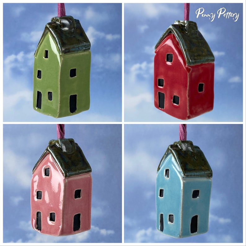Light Pull Ceramic Miniature House in Blue Pink Green & Red image 0