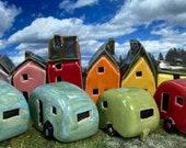 Miniature Ceramic Caravan + free tent - Various Colours - Handmade by Penny