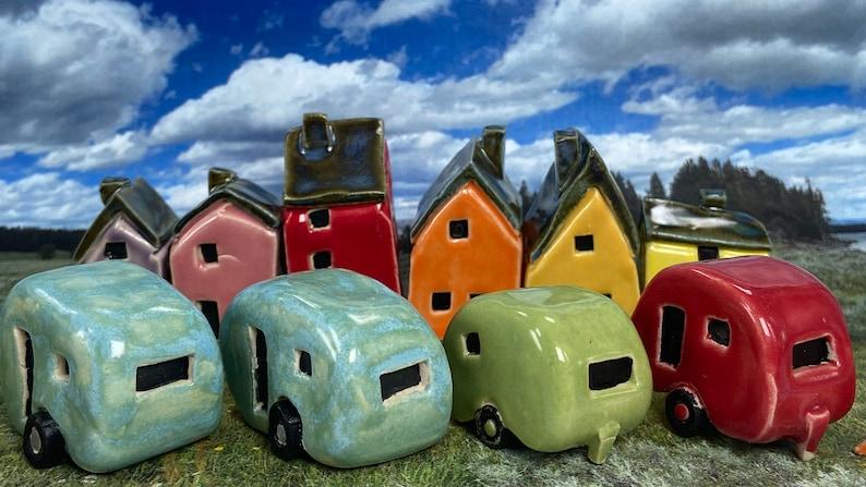 Miniature Ceramic Caravan  free tent  Various Colours  image 0