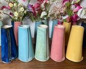 Single Flower Stem Bud Vase - Handmade Ceramic - in Pink, Blue, Yellow, Turquoise & Dark Blue made by Penny
