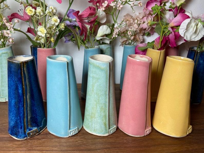 Single Flower Stem Bud Vase  Handmade Ceramic  in Pink image 0