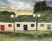 Bothy Double Chimney Rustic Tiles. PennyPottery Original 1220C Fired Ceramic Miniature. Mini House Collectable. 3 Colours. Handmade by Penny