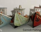 Cornish Fishing Boat - Nautical / Sea Themed - Handmade Glazed Ceramic Artwork