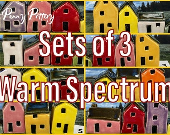 Sets of 3 Miniature Ceramic Houses + 1 Shed. Warm Spectrum Colours. Wonderful and Sweet Tiny Pottery Homes. Bespoke & Handbuilt by Penny