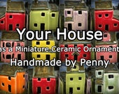 Custom Miniature Ceramic House Caricature. Unique, bespoke model of your home. Handmade by Penny.