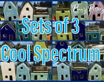 Sets of 3 Miniature Ceramic Houses + 1 Shed. Cool Spectrum Colours. Joyful Selections. Lovely Mini Pottery Homes. Limited, Handmade by Penny