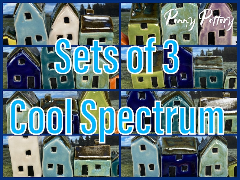 Sets of 3 Miniature Ceramic Houses  1 Shed. Cool Spectrum image 0