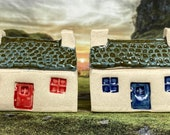 Bothy Double Chimney Small Tiles. PennyPottery Original 1220C Fired Ceramic Miniature. Mini House Collectable. 2 Colours. Handmade by Penny