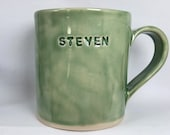 """Personalised Ceramic Mugs. In Pink, Blue, Green, Red & Purple. Add """"Your Name"""" or Statement. Bespoke, Unique and Handmade by Penny"""