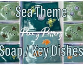 Soap, Ring or Key Dish - Sea Theme Turtle Fish Crab Dolphin. Handmade Ceramic - Bathroom Accessories - Various Designs