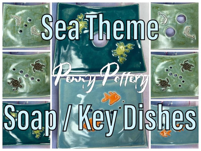 Soap Ring or Key Dish  Sea Theme Turtle Fish Crab Dolphin. image 1