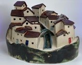 Mediterranean Bridged Village. Hand crafted PennyPottery original. Can be internally lit. Unique One Off Handmade Ceramic Artwork by Penny.