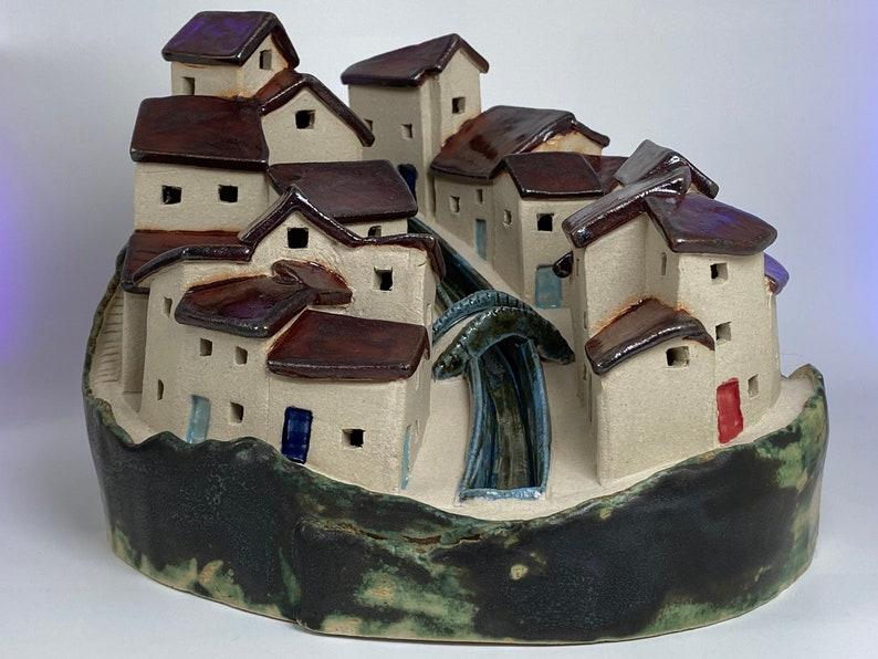 Mediterranean Bridged Village. Hand crafted PennyPottery image 0