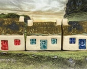 Bothy Double Chimney & Matt Moss Tiles. PennyPottery Original 1220C Ceramic Miniature. Mini House Collectable. 3 Colours. Handmade by Penny