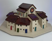 Village with Church. B GRADE SECOND. Hand crafted PennyPottery original. Can be internally lit. Unique Handmade Ceramic Art by Penny.